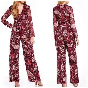 Chelsea & Violet velvet floral longsleeve jumpsuit
